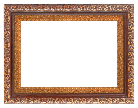 mirror frame: The antique gold frame on the white background