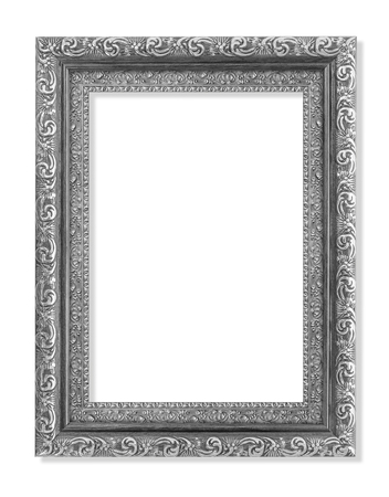mirror frame: The antique gray silver frame on the white background