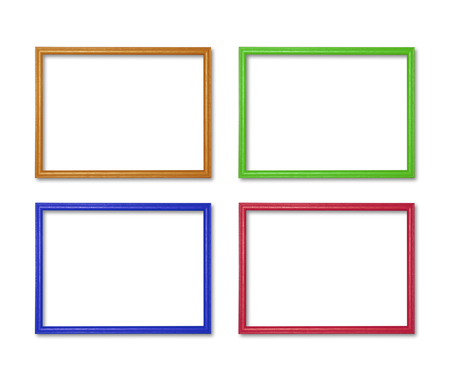 old photo: wooden frame colorful callection set isolated on white background Stock Photo