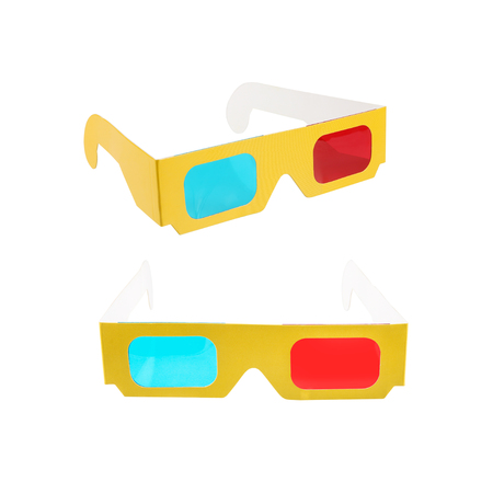 Red-blue paper glasses for view 3-dimensional films and images. Isolated on white background. Stock Photo