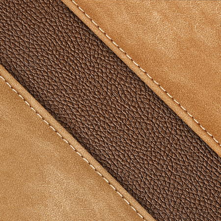 two: Stitched leather texture brown colors two tone in diagonal form for background Stock Photo