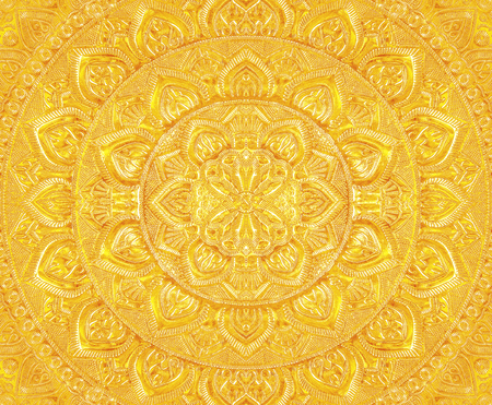 Engraved gold metal oriental texturepattern background