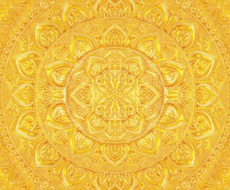 Engraved gold metal oriental texture/pattern background Reklamní fotografie - 90533587