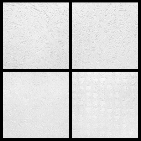 White paper with decorative pattern texture leaves shape for background