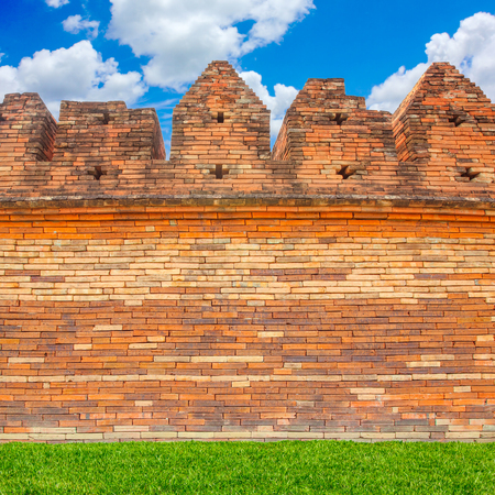 Ancient fortress walls of chiang mai thailand Stock Photo