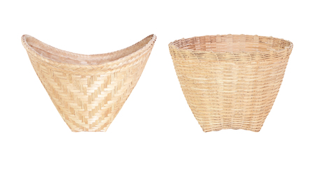 two basket made from bamboo on a white background.  版權商用圖片