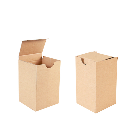 Cardboard brown box isolated on white background  스톡 콘텐츠