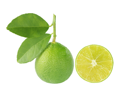 Green lime with leaf and lime isliced solated on white background