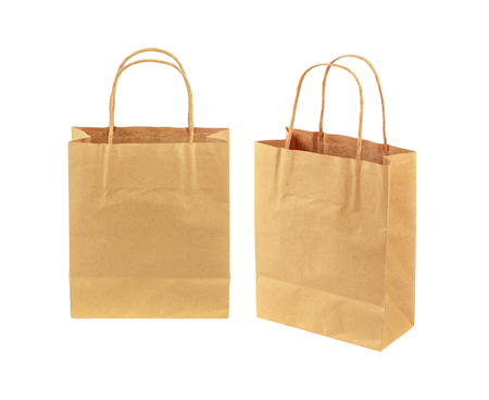 Paper bag isolated on white with clipping path