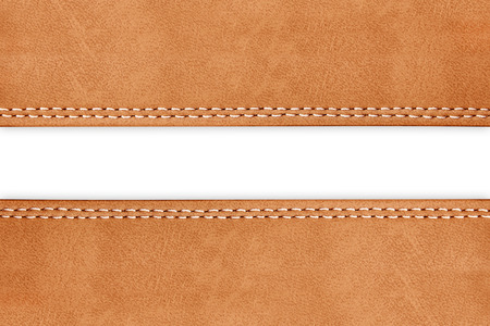 stitched leather background brown colour on whith background