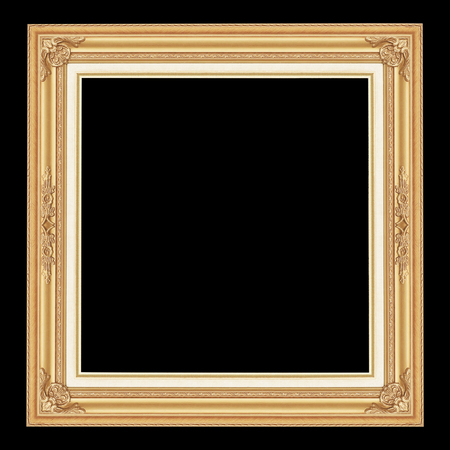 The antique gold frame iaolated on black background with clipping path
