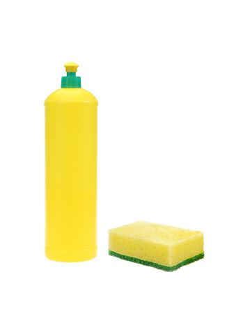 cleaning sponge and Bottle for washer dishes isolated on white with clipping path
