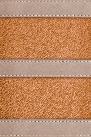 stitched leather frame brown colour texture background  Stock Photo