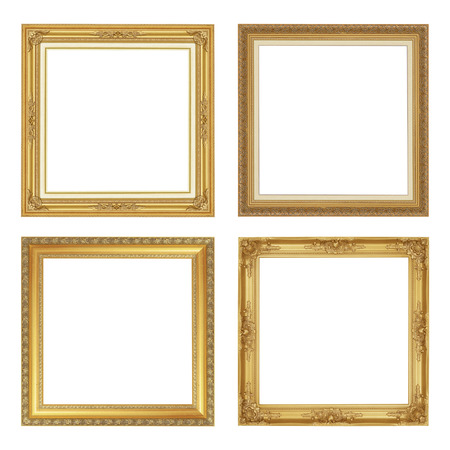The antique gold frame isolated on white background with clipping path Фото со стока