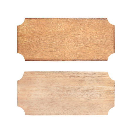 two wooden sign isolated in white with clipping path