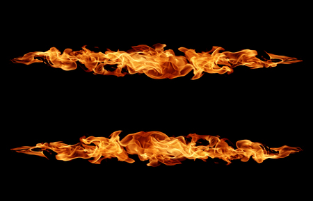 Fire Flame horizontal on black background