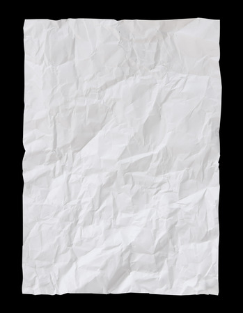 White Crumpled paper psolated on black background with clipping path 写真素材