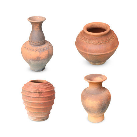 collection earthenware  pottery  isolated on the white background Banque d'images