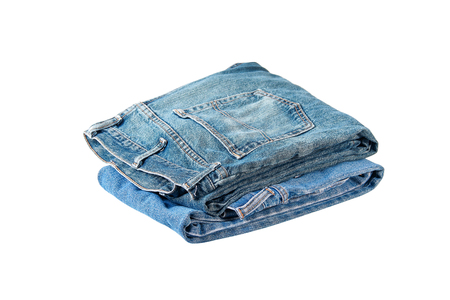 Stack of jeans isolated on white background clipping path Stock Photo