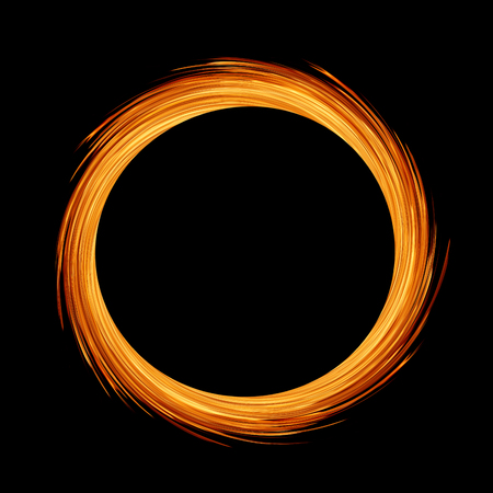 circle or ring of fire flame on black background