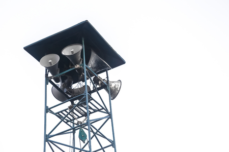 Speaker tower isolated on the communication for background.