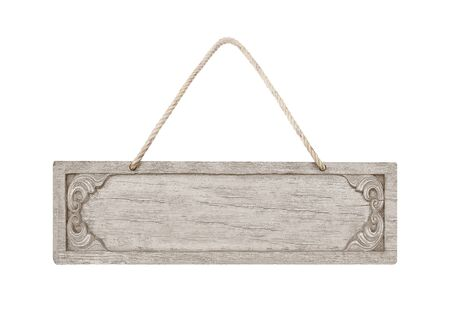 close up of an empty wooden sign with rope isolated on white background
