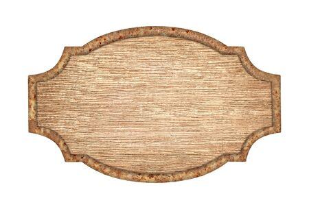 cartello in legno vuoto con telaio in acciaio ruggine isolato