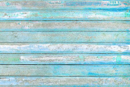 Vecchio fondo di struttura della parete di legno blu e bianco