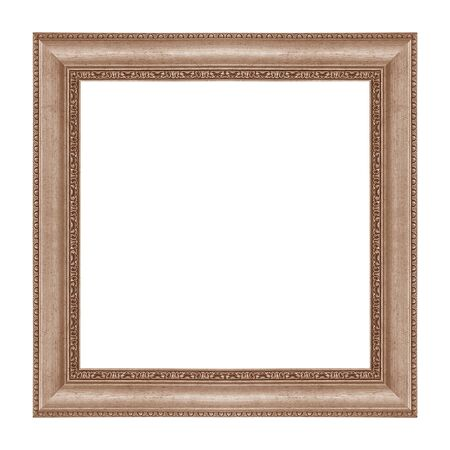 The antique metal frame isolated on white background with cliping path included. Stok Fotoğraf