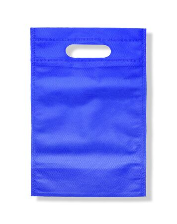 Synthetic fabric blue bag isolated on white background Stock Photo