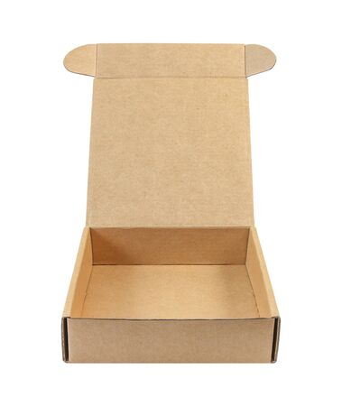 Cardboard box with flip open lid isolated on white