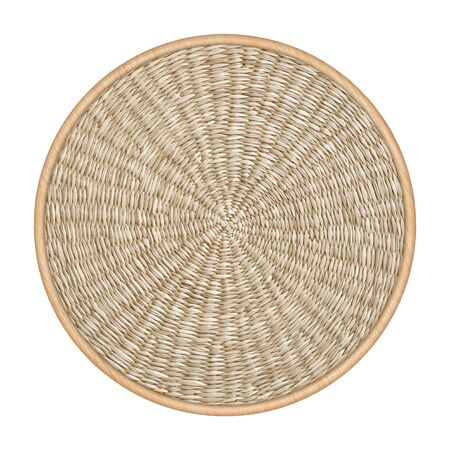Straw woven round hand made background isolated on white