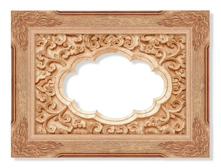 wooden frame and Pattern of flower carved on wood isolated on white Stock Photo
