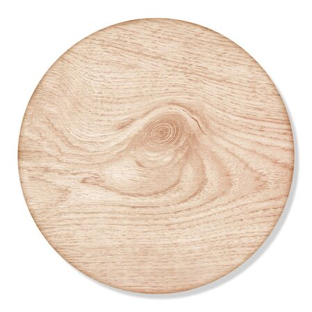 round wooden cutting Board isolated on white background 免版税图像
