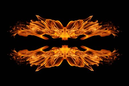 Abstract Fire flame on black background