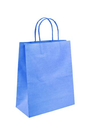 Blank blue paper bag isolated on white background