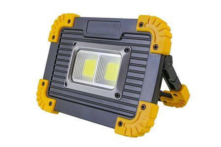 Mobile LED sport light high power isolated on white background Stock Photo