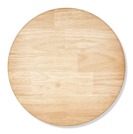round wooden cutting Board isolated on white background with Foto de archivo