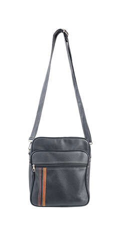 Black leather bag with a shoulder strap isolated on white with clipping path included