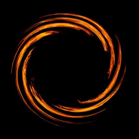 Circle swirl of fire flame on black background