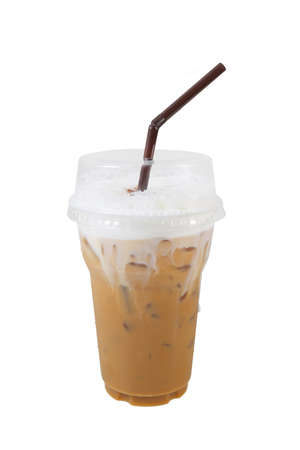 Iced cappuccino coffee on plastic glass cup isolated white background with clipping path included