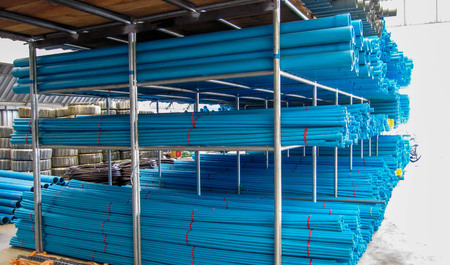 Pipe PVC stacked together, have Spider web on pipe.