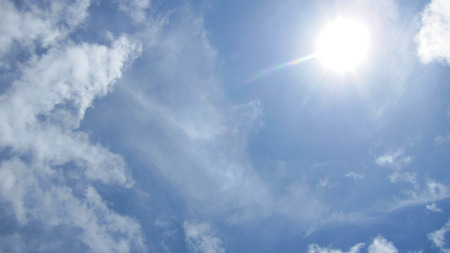 joyfulness: Blue background with clouds, very bright, beautiful, is the most beautiful sky. Can be used as a background.