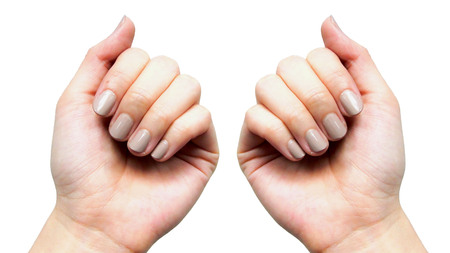 Blurred nails that do not care for delicate, no shape and do not have beautiful nail skin, indicates not to take care of both internal and external health.natural Banque d'images