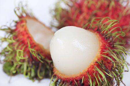 Tropical fruit rambutan isolated on white backgroud  photo