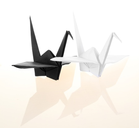 Black and white traditional Japanese origami crane bird  photo