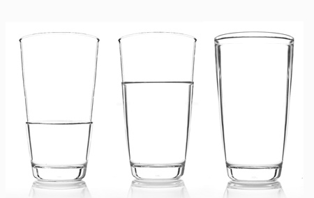 proportion: 3 glasses of water ratio of Full , two of third and one of third isolated on white background