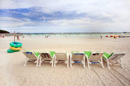 White sandy beach at Koh Lan , Pattaya, Thailand photo