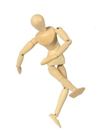 mannequins: Yellow Holzpuppe in Absto� isoliert auf wei�em Hintergrund Lizenzfreie Bilder