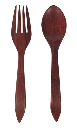Brown wooden spoon and fork isolated on white background